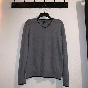 INC Gray V-neck Sweater
